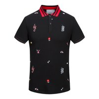Wholesale Mens Designer Polo Shirts - Ltaly clothing off men's T-shirts collar embroidery hip hop clothing mens designer shirts white black blue polo shirt