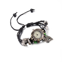 Wholesale Cow Leather Wrap Watch - 2017 Hot Sell Retro Quartz Wristwatches Fashion Weave Wrap Around Cow Leather Bracelets Bangles Heart Pendant Womens Girls Watches