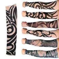 Wholesale Tattoo Sun Sleeves - Tattoo Sleeves Outdoor Sun Protection Cycling Sleeve Simulation Flower Tattoo Arm & Leg Sleeves Seamless Fisshing Sleeve 2503015
