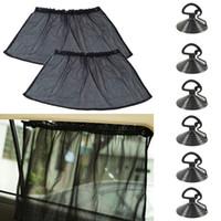 Wholesale Shield Window Visor - 50x75CM Adjustable Car Sun Shades UV Protection Window Curtain Hanging Shield Mesh Cover Car Sun Visor window foil Sunshades Suction Cap
