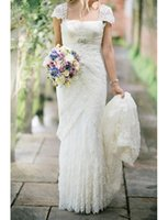 Wholesale Empire Waist Square Neck - Romantic 2017 New Empire Wedding Dresses Square Neck Cap Sleeve Beaded High Waist Lace Sweep Train Bridal Gowns