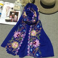 Wholesale Dual Scarf - 2016 Korean Embroidery Cotton Hemp Flowers A Surname Cotton Scarf Nation Wind Shawl Dual Purpose Woman Spring And Autumn Winter Silk Scarf L