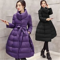 Wholesale Long Skirt Coats - Limited Coat Women 2017 Winter Jacket Long Clothing Skirt Thick Sashes Solid Offer Wadded Coats Down Parka Woman Jackets Bow