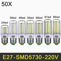 warm geführtes kronleuchter großhandel-220V LED Lampe E27 SMD5730 LED helles Birnen-Mais-Licht des Leuchter-LED 24/36/48/56/81/89 LED heller Beleuchtungs-Großverkauf 50pcs / lot