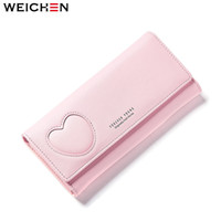 Wholesale Multifunctional Coin Purse - New Style Hasp Women Long Wallet Lady Heart Money Purse Coin Phone Pocket Purses Multifunctional PU Leather Female Bags