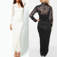 Wholesale Scallop Neck - New Fashion Slim Scallop V-Neck Neck Lace Sexy Full-Length Women lady Maxi Dress Long Sleeve White Black Blue Plus Size