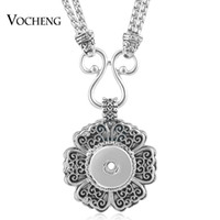 Wholesale Vintage Snake Charm - VOCHENG NOOSA Necklace Snap Jewelry Vintage Flower 18mm Alloy Charms Double Chain Pendant NN-499