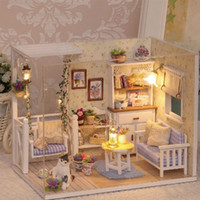 Wholesale Dollhouse Wood - Wholesale-Doll House Diy miniature Wooden Puzzle 3D Dollhouse miniaturas Furniture House Doll For Birthday Gift Toys H13