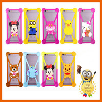 Wholesale Holster Clip Metal - Universal Cute Cartoon Silicone Cell Phone Holster Cases Fundas For iphone 5 5s se 6 6s plus Samung LG MOTO