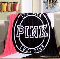 Wholesale Velvet Seat Cushions - Newest Fashion Women Pink Love Letter Blanket Manta Fleece Blanket Throws On Sofa Bed Plane Travel Plaids Hot Limited Battaniye 130cmx160cm