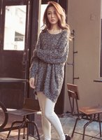 Wholesale Loose Batwing China - Fashion KPOP Autumn Winter Women Coarse Wool Casual Loose Sliming Batwing Plus Size Knitted Pullover Sweater Free Shipping China Cheaper