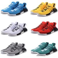 HOT Cheap Pharrell Williams X NMD Human Race NMD Chaussures de course Femme Hommes Chaussures de sport Athletic Outdoor Shoes Yellow Blue