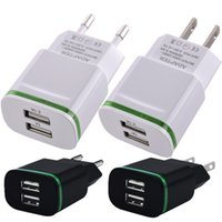 Wholesale Led Android Charger - AAA Quality EU & US plug 2.1A Ac home wall charger Led light Dual usb ports power adapter for iphone 6 7 8 Samsung s6 s7 edge android phone