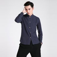 Wholesale Traditional Chinese Cotton Shirt - Free shipping Long Sleeve Tang suit Chinese Traditional clothing Kung Fu Shirt mandarin collar Chinese Shirt Linen Chinese Top