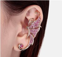 Wholesale Earrings For Pierced Ears - 2017 Hot Full of Diamond Butterfly Earrings Fashion jewelry Cuff No pierced Ear Clip Hanging Earring Charms Gift for Women