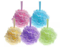 Wholesale Plastic Mesh Trimming - Colorful Bath Pouf Large Mesh & Lace Trim Shower Sponge Exfoliating Cleanse Soothe Skin Loofah Luffa Body Puff Mesh Body Scrubber Bath Ball