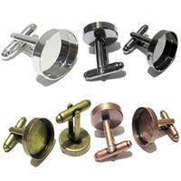 paramètres de lunette pour résine achat en gros de-Yabin vente chaude style occidental boutons de manchette base blanche à la main bricolage boutons de manchette accessoires