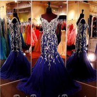 Wholesale Dark Green Sweetheart Strap Rhinestone - Sparkly Royal Blue Crystal Rhinestones Mermaid Evening Dresses 2016 Straps Sweetheart Tulle Floor Length Prom Formal Party Pageant Dresses
