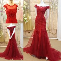 Wholesale Beautiful Red Nude Sleeves - 2016 Latest Elegant Cap Sleeve Dark Red Mermaid Evening Dresses Beautiful Sweep Train Lace up Back Tulle Lace Formal Prom Party Dresses