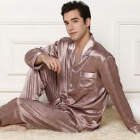 Wholesale plus size silk pajamas - Wholesale-Silk pajamas Sets Thin the Long Sleeved Suit vestidos Turndown Plus Size Sleepwear Pyjama men Pants Bathrobe pijama Nightwear