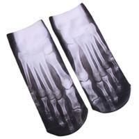 Wholesale Cheap Slipper For Women Wholesale - Wholesale-3D Skeleton Foot CT Printed Ankle Socks Slippers Bone Cheap Cotton Short Sock for Men Women NQ875545