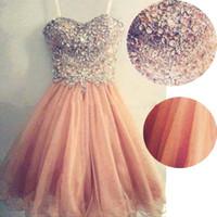 cuadros populares vestido al por mayor-Imagen real Top Seller Popular correa de espagueti con cuentas de tul corto vestido de fiesta de coral Peach Prom vestido