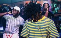 Wholesale Hiphop Fashion Stripe - new arrival 2017 summer 6 color men t shirt A$AP Rocky Joint Embroidery stripe Tee Ian Connor women men hiphop casual oversize t shirt men