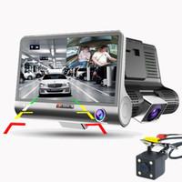 kamera rückspiegel aufnahme großhandel-3 Wege Kamera Auto DVR FHD 1080 P Videokamera Dual Objektiv mit Rückansicht Registrar 4,0 zoll Dash Cam Nachtsicht Camcorder