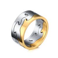 серебряное головоломное кольцо оптовых-9,5-мм двухцветные пазлы из нержавеющей стали - серебро, черный