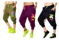 Wholesale Dance Cargo - woman dance cargo pants Da Funk Baggy Capris capri pants BLACK BURGUNDY GREEN S M L XL free shipping
