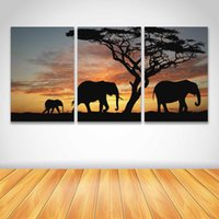 Barato Arte Africana Da Lona Do Painel-3 Painel HD Prints Canvas Wall Art Animal Sunset Landscape Painting Elefante africano Picture for Living Room Home Decor