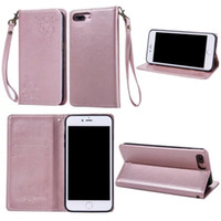 Wholesale Suck Iphone - Strap Magnetic Suck Flip Leather Case For Iphone SE 5 5S 5C 6 7 I7 plus 6S 4 4S Flower Stand Wallet Pouch TPU Cell Phone Cover No Hasp 1pcs