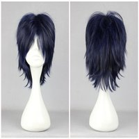 Wholesale Short Dark Blue Cosplay Wig - Good Design Fashion The Prince of Tennis Dark Blue Mix Black Short Straight Cosplay Wig ePacket Free Shipping