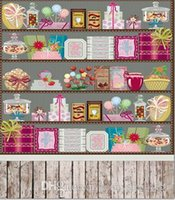 Candy Shop Crianças Baby Vinil Fundos 5X7ft Casamento Photograhy Studio Decor Props Photo Backdrop