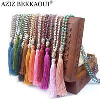 ingrosso catene di buddha-All'ingrosso-qualità esclusiva perline colorate nappa stile bohemien collane buddha collane pendenti collana lunga catena donne vintge