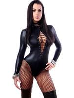 xl frau catsuit großhandel-Hohe Qualität Langarm Sexy Schwarz Latex Kunstleder Body Frau Erotische Zentai Catsuit Fetisch Tragen W850842