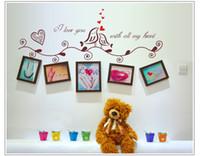 pássaros do amor adesivos venda por atacado-Atacado 2016 Lover Love Birds Melhores Presentes PVC Flor Transparente Filme Sala de estar Quarto Fundo Adesivo De Parede Papel De Parede 35x12