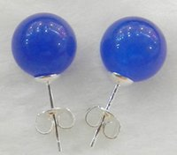 Nuevo 10mm Jewelry Natural Blue Sapphire Sterling Silver Stud Earrings