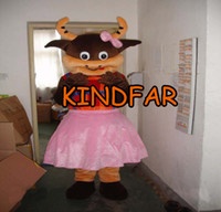 Wholesale Cattle Bull - Wholesale-Bull Mascot Costume Cow Calf Cattle Ox Adult Size Fancy Dress Cartoon Character Outfit Suit Free Sh