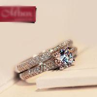 Wholesale swarovski rings 925 for sale - Group buy Korean Style Sterling Silver SWAROVSKI ZIRCONIA Lovers Rings