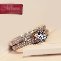 925 ring swarovski großhandel-Koreanische Art 925 Sterling Silber SWAROVSKI ZIRCONIA Liebhaber Ringe