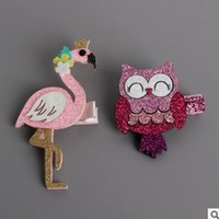 Wholesale Lace Hairclip - Kids sequins princess hairclip baby animals cute rabbit cartoon swan hair clip shiny girls fawn hair owl lovely mouse hairpins T0055