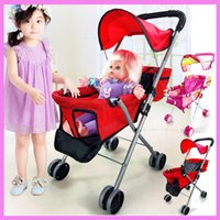 Wholesale Baby Walker Cart - Baby Toys Stroller for Girls Pretend Play Stroller Pushchair Toys Walker Cart Children Stroller for Dolls Umbrella Pram 2~4 Y