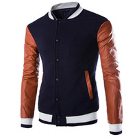 Wholesale Stylish Spring Mens Jackets - Brand Baseball Jacket Men 2016 Spring Autumn Fashion White Pu Leather Varsity Jacket Stylish Mens Slim Fit Jackets Veste Homme