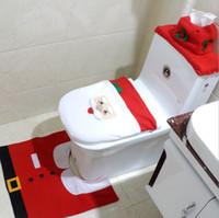 capas de radiador venda por atacado-Casa de Natal Santa Claus Toalha de Pano Toalete Tampa Do Assento Do Toalete Tampa Tampa de Radiador Tampa Decorações Do Banheiro Set