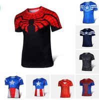 Wholesale Batman Short Sleeve Shirt - Hot Sales t-shirt Superman Batman spider man captain America  Hulk Iron Man   t shirt men fitness shirts men t shirts Free shipping