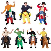 ingrosso costumi da cartone animato-Pantalone stravagante Birra persone cartoni animati Stuffed Ride On Me Stag Mascot Carry PiggyBack Costume in maschera