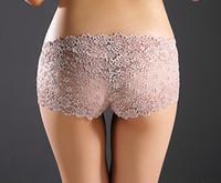 Wholesale Ladies Boxer Underwear Wholesale - Fashion Sexy Lady Ultra-Thin Underwear Full lace Transparent Woman Boxers Boyshorts Panties Mix color