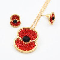 Wholesale Gold Necklaces Uk - Stunning Crystals Red Poppy Necklace And Earrings Sets For UK Remembrance Day Gift Hot Selling