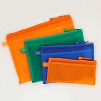 Wholesale b4 paper - Wholesale-A5 A4 B5 B4 Office Paper Folder Zipper Plastic Waterproof pen Bag File Bags Document Folders School Supplies